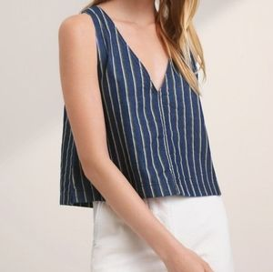 Wilfred Free Arlenis Striped Chambray Blouse S